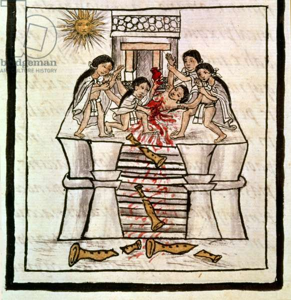 Ms Laur. Med. Palat. 218 f.84v Human sacrifice at the temple of Tezcatlipoca from a history of the Aztecs and the conquest of Mexico, 16th century (pen and ink)
