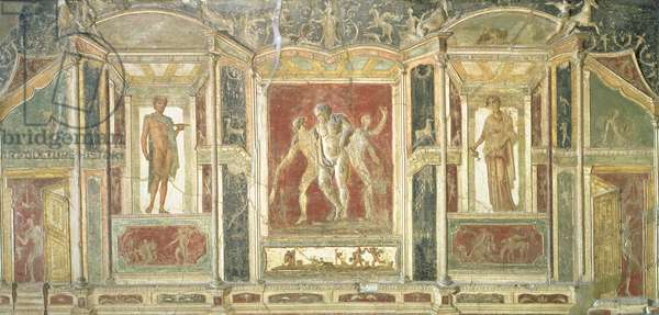 Relief panels with Dionysus and other figures standing in trompe l'oeil niches, from Pompeii, 1st century AD, Fourth Style (fresco)