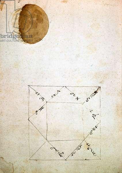 Gal. 48, c. 29b, folio from 'Sidereus Nuncius', 1610 (pen & ink on paper)