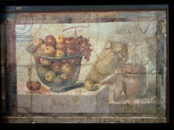 Still Life With Bowls of Fruit and Wine-jar, from the 'Casa di Giulia Felice' (House of Julia Felix) from Pompeii, 1st century BC (fresco)