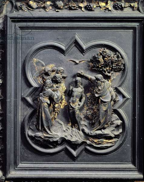 The Baptism of Christ, fifth panel of the North Doors of the Baptistery of San Giovanni, 1403-24 (bronze)