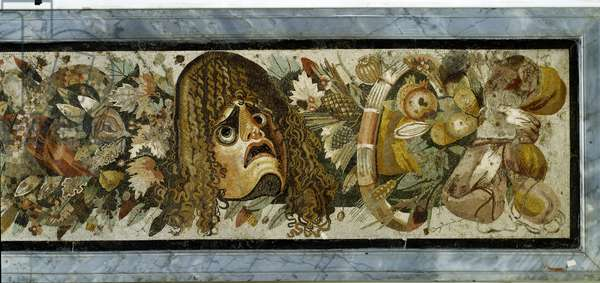 Decorative panel depicting a garland of masks, foliage and fruit from the House of the Faun, Pompeii, 2nd century BC (mosaic)