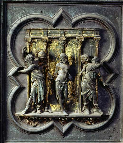 The Flagellation of Christ, fifteenth panel of the North Doors of the Baptistery of San Giovanni, 1403-24 (bronze)