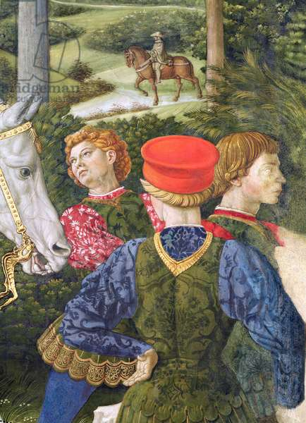 Liveried attendants, detail from the Journey of the Magi cycle in the chapel, c.1460 (fresco)