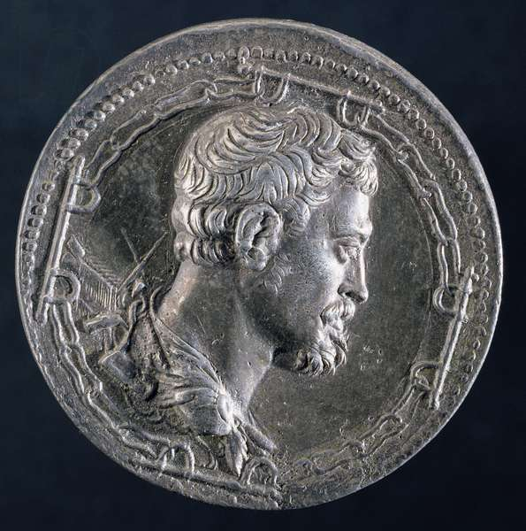 Reverse of medallion of Andrea Doria depicting the artist surrounded by the chains of a convict and with a galley in background, c.1541 (silver) (see 122337 for obverse)