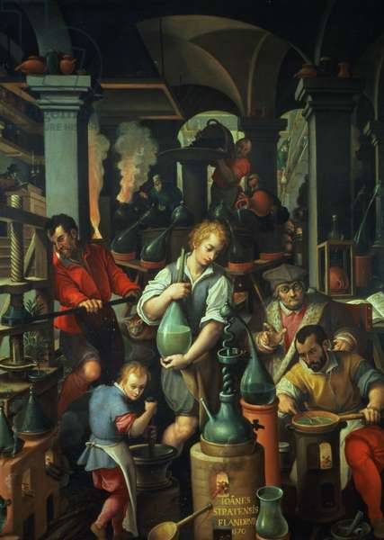 The Alchemist's Workshop, 1570 (oil on slate)