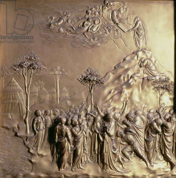 Moses receiving the Tablets of the Law, one of ten relief panels from the Gates of Paradise (East doors), 1425-52 (gilt bronze) (see also 87652-57 & 87659-67)