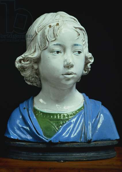 Bust of a young boy (glazed terracotta)