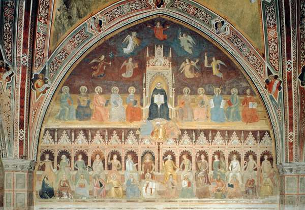 The Triumph of Catholic Doctrine, personified in St. Thomas Aquinas, from the Spanish Chapel, c.1365 (fresco)