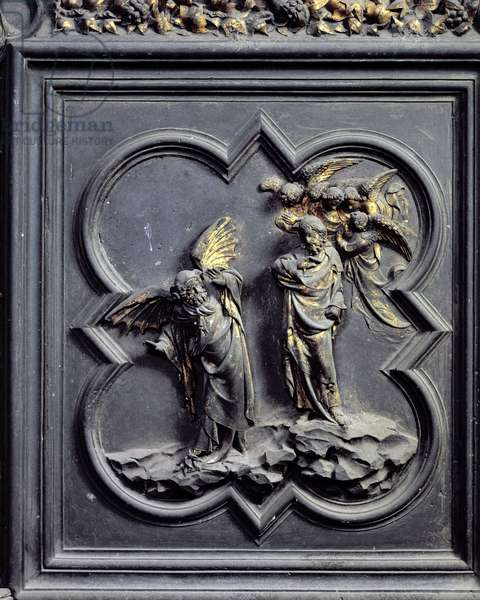 The Temptation of Christ, sixth panel of the North Doors of the Baptistery of San Giovanni, 1403-24 (bronze)