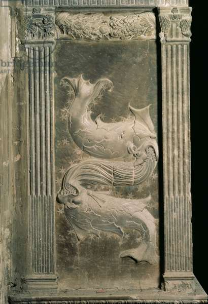 Pisces represented by two fish from a series of reliefs depicting planetary symbols and signs of the zodiac by Agostino di Duccio (1418-81), c.1450 (plaster)