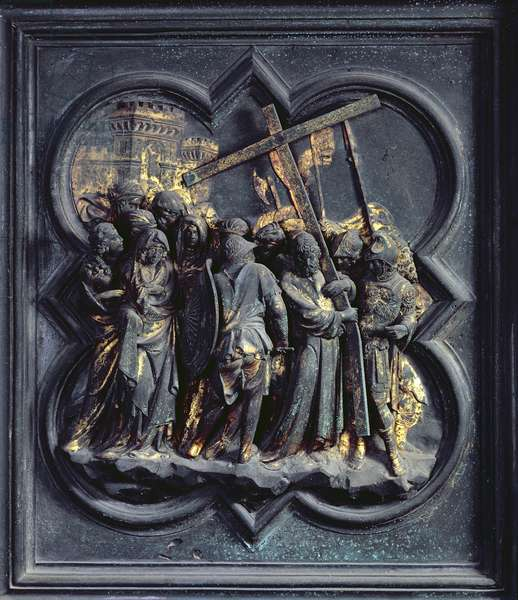 The Ascent of Christ to Calvary, seventeenth panel of the North Doors of the Baptistery of San Giovanni, 1403-24 (bronze)