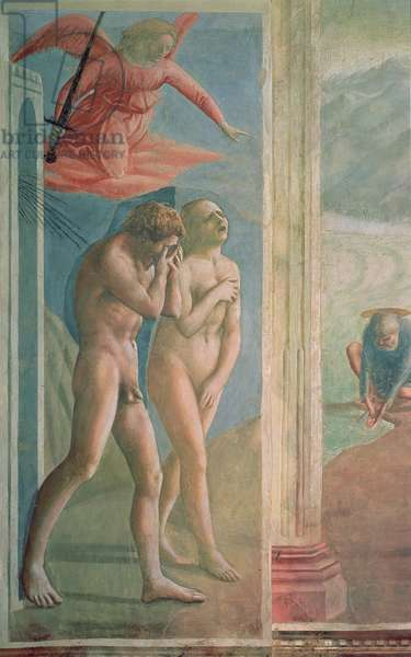 Adam and Eve banished from Paradise, c.1427 (fresco) (post restoration) (see also 200134 & 428037)