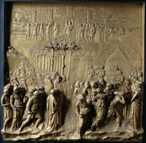 The Story of Joshua: Joshua instructs the Priests to lead the Israelites across the River Jordan and the Fall of Jericho, one of ten relief panels from the Gates of Paradise (East doors), 1425-52 (gilt bronze) (see also 87652-58 & 87660-67)