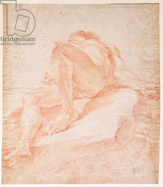 Sketch for the figure representing the Danube for 'The Fountain of the Four Rivers', 1648-51 (red chalk on paper)