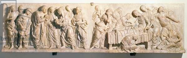 The Death of Francesco Tornabuoni, relief by Andrea del Verrocchio (1435-88) (marble)