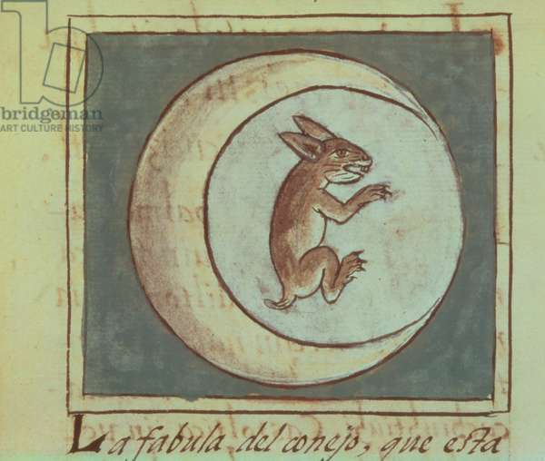 Ms 219 f.223v The rabbit in the moon from a history of the Aztecs and the conquest of Mexico, Spanish