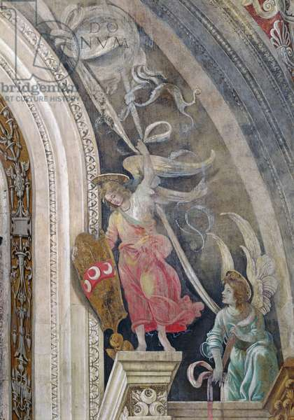 Two angels, detail from right side of the east wall in Strozzi Chapel, c.1457-1502 (fresco)