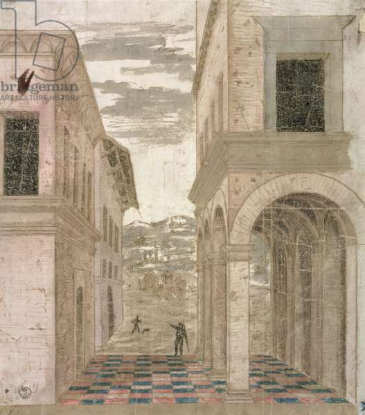 Architectural Capriccio, a study in perspective (pen & ink with wash on paper)