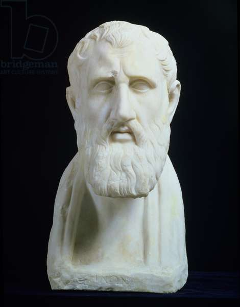 Portrait bust of Zeno of Citium (334-262 BC), 3rd century BC (marble)