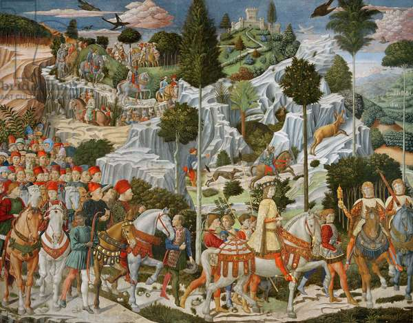 The Journey of the Magi to Bethlehem, the right hand wall of the chapel, c.1460 (fresco)