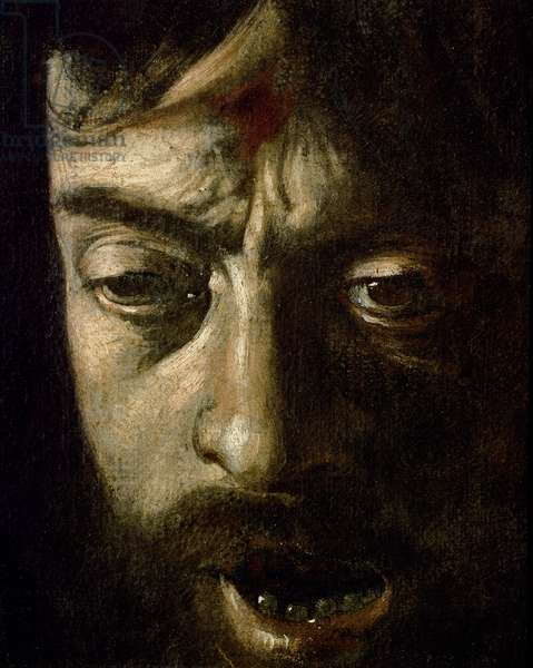 David with the Head of Goliath, detail of the head, 1606 (oil on canvas) (detail of 100349)