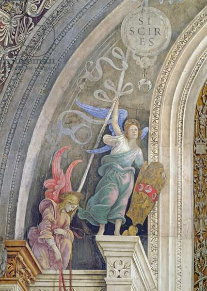 Two angels, detail from the left side of the east wall in Strozzi Chapel, c.1457-1502 (fresco)