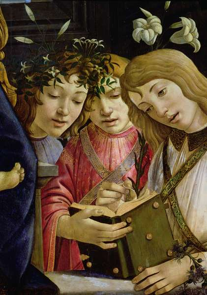 Madonna and child with the young St. John the Baptist and angels: detail showing three angels (panel) (detail of 44353)
