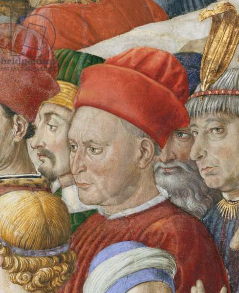 Face in the procession, detail from the Journey of the Magi cycle in the chapel, c.1460 (fresco) (detail of 70603)
