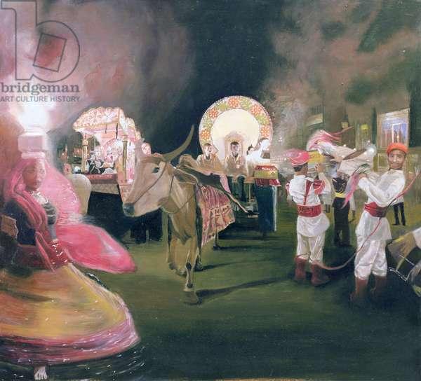 Delhi Street Festival (oil on panel)
