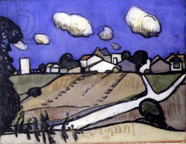 Village, South of France, c.1920 (chalk and w/c on paper)