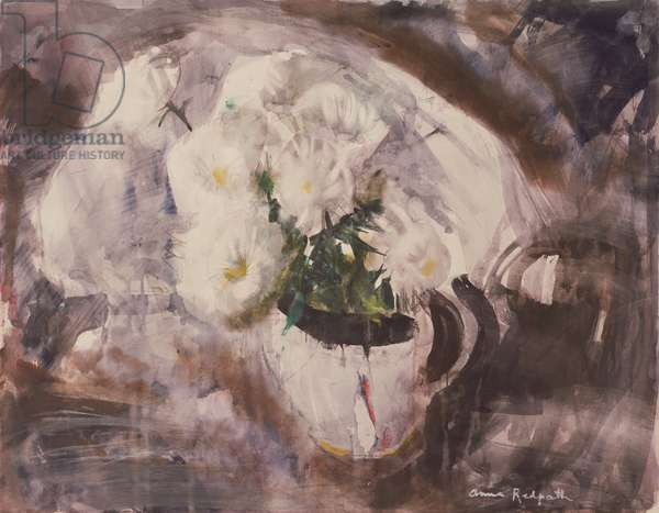 White Flowers in a White Jug, c.1960 (w/c on paper)