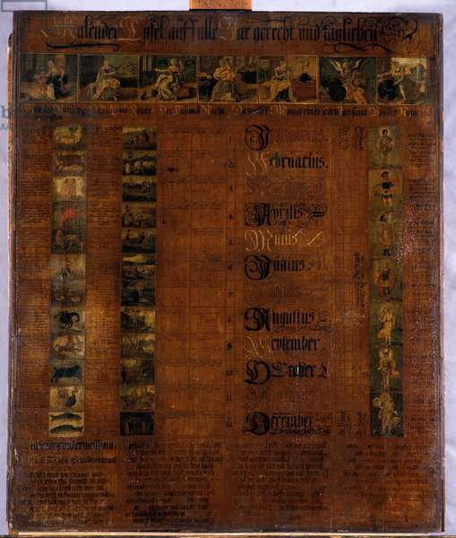 Calender, 1601-50 (painted wood)