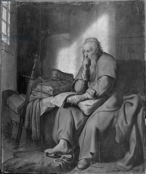 The Apostle Paul in Prison (oil on canvas) (b/w photo)