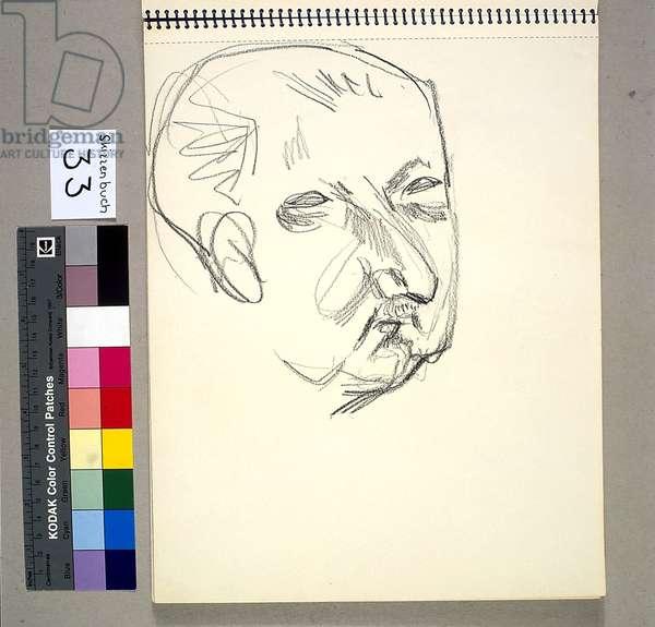Martin Heidegger, c.1960 (black crayon on paper)