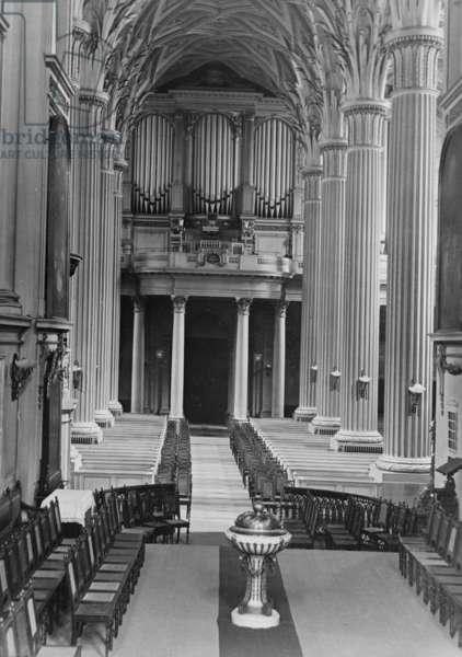 View of the nave and organ, St. Nicholas Church, Leipzig, Germany, c.1900-40 (b/w photo)