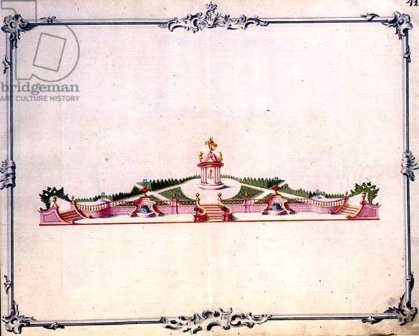 Detail of the main set for the fireworks for the New Year celebration in Moscow, 1 January 1749 (see:112742) (w/c, gouache and gilding on paper) (see also 112741)