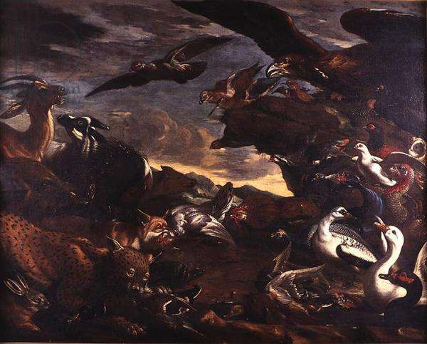 The Battle of the Birds and the Beasts (oil on canvas)