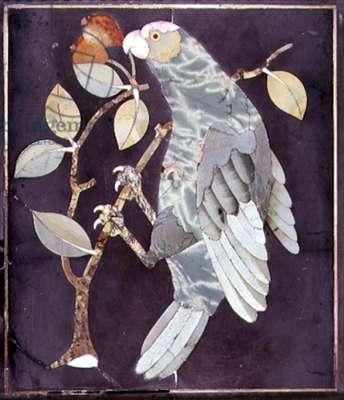 Pietra Dura Parrot Eating a Cherry