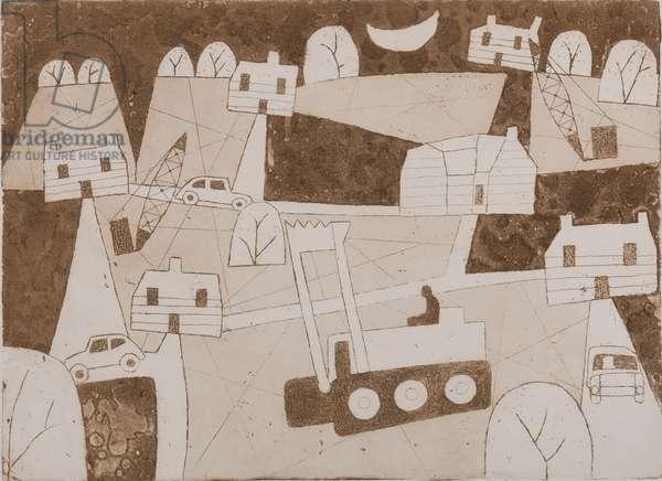 Bulldozer, 1982 (etching & aquatint)