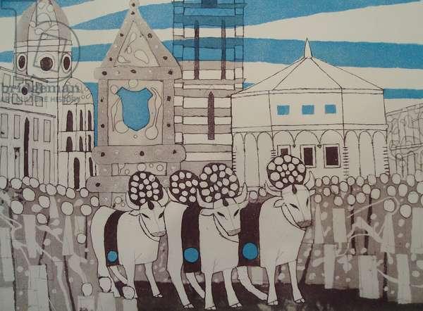Easter Festival, 1965-66 (etching & aquatint)