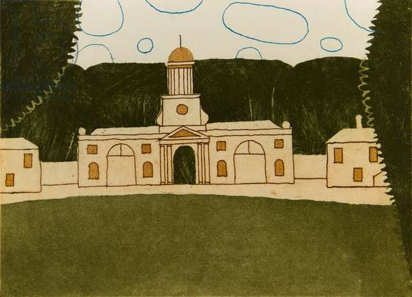 Wallington, Clock Tower, 1975 (etching, aquatint & soft ground)