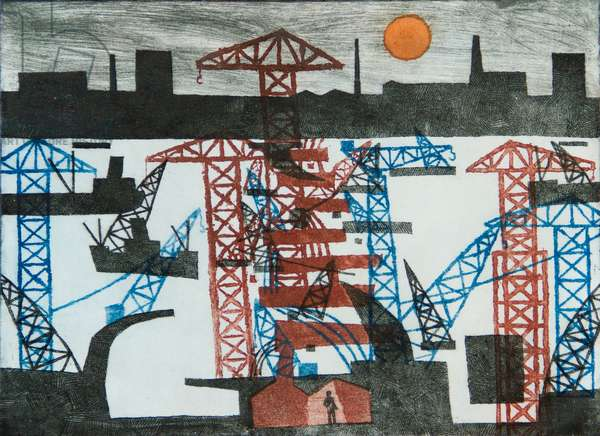 Woolwich Barrier, 1980 (etching, aquatint & softground)