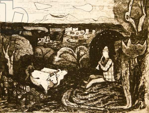 Tuscan Landscape, 1957 (etching & soft ground)