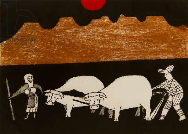 The Plough, 1976 (etching, aquatint & soft ground)