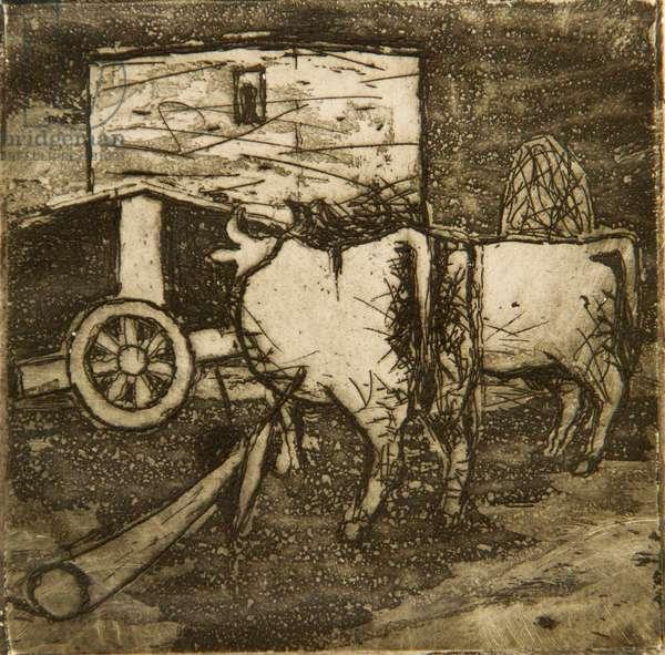 Oxen, 1954 (etching & aquatint)
