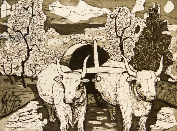 Tuscan Landscape, 1955 (etching & aquatint)