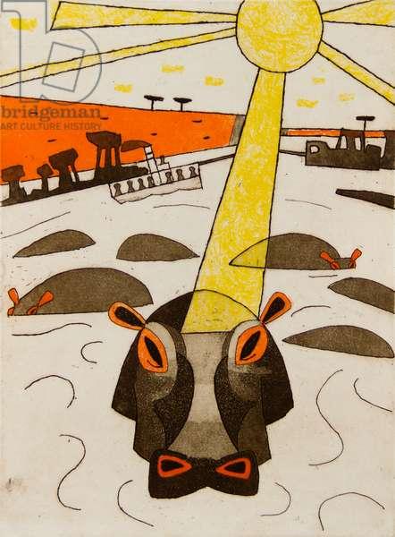 Hippos, 1966-67 (etching, aquatint & soft ground)