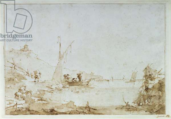 A coastal scene, c.1770-80 (pen and brown wash with black chalk on paper)