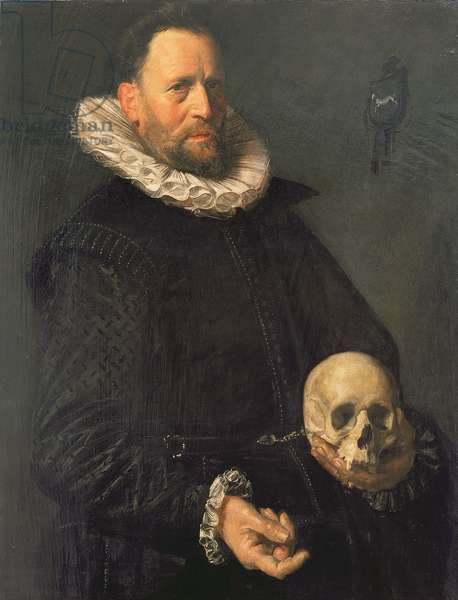 Portrait of a Man Holding a Skull, c.1611-12 (panel)